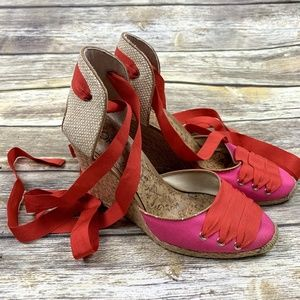 Loft wedge espadrilles 9M lace up pink red